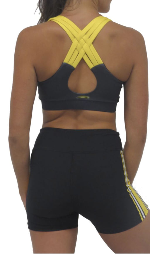 Iowa Hawkeye Criss Cross Bra (Black) Top BEND Active