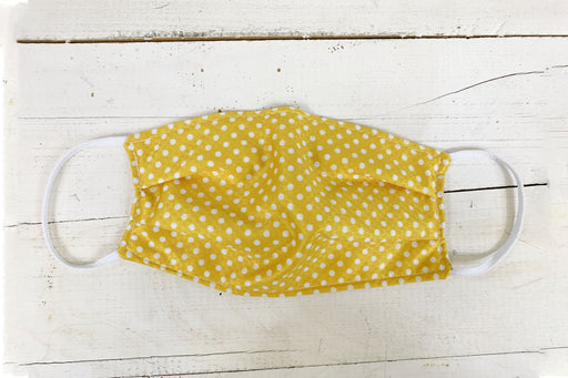 Mustard Polka Dot Cloth Face Cover with Nose Clip Cloth Face Cover BEND Active