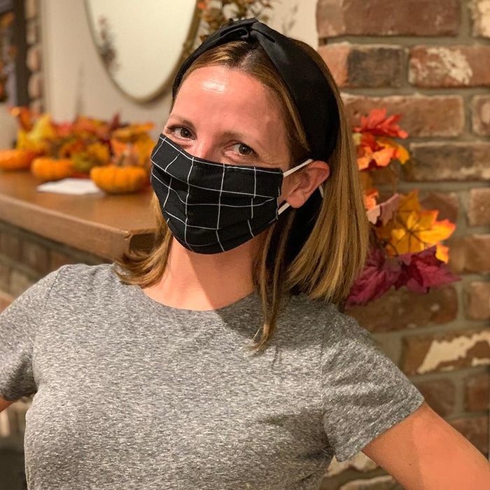 NEW RELEASE - Black & White Squares by ThompsonsTeachings Face Cover with Nose Clip Cloth Face Cover BEND Active