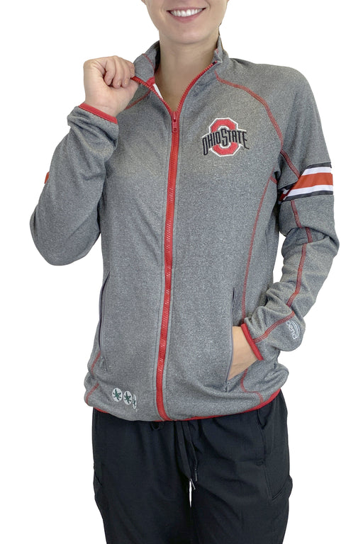 NEW RELEASE - Ohio State Contrast Stitch Full Zip Pullover (Grey) Sweatshirt BEND Active