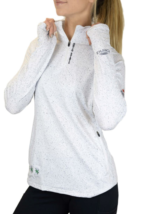 "NEW RELEASE - The Ohio State University ""White Noise"" 1/4 Zip Pullover/White Sweatshirt BEND Active"