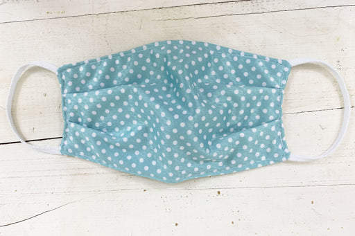 Teal Polka Dot Cloth Face Cover with Nose Clip Cloth Face Cover BEND Active
