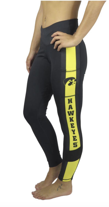 University of Iowa Victory Cell Phone Pocket Crop Legging (Black) Legging BEND Active