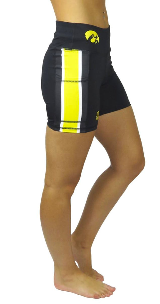 University of Iowa Victory Cell Phone Pocket Short (Black) Legging BEND Active