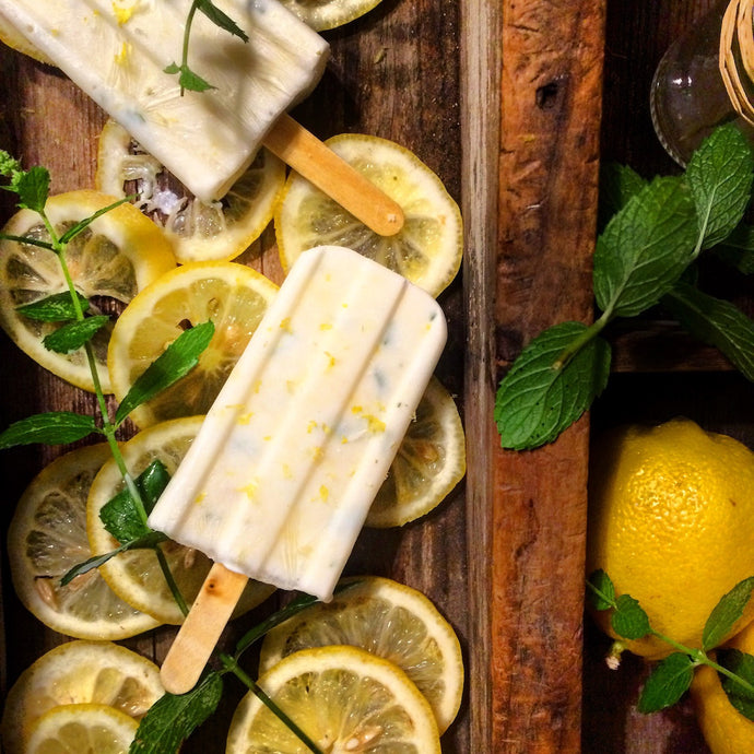 LEMON MINT SHRUB YOGURT POPSICLES