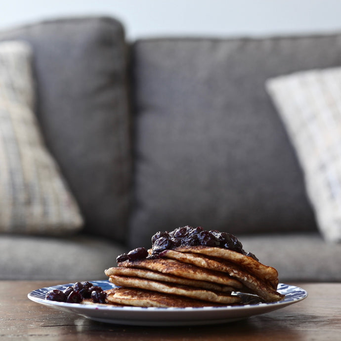 CORNMEAL PANCAKES WITH A SMOKED BLUEBERRY ROSEMARY SAUCE