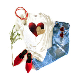 Plaid Heart Tee Shirt