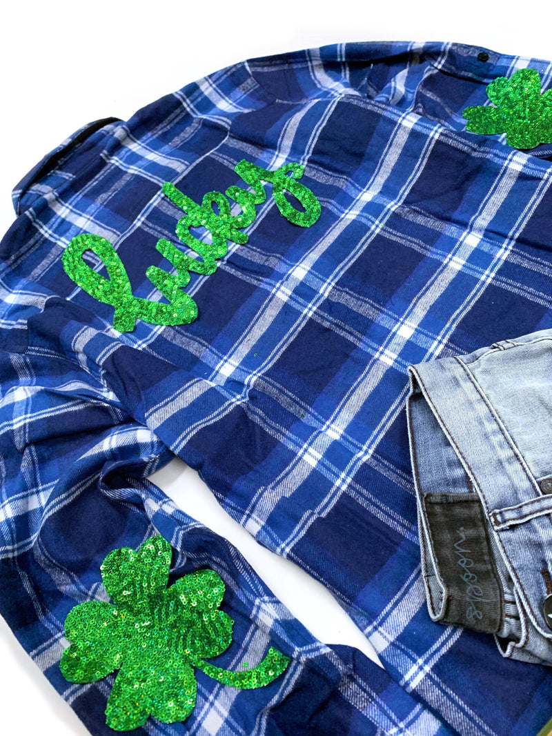 Lucky Shamrock Flannel - Small - Shop Love and Bambii