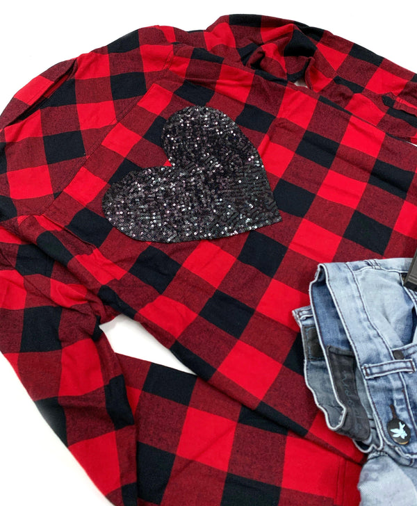 Sequin Heart Buffalo Plaid Flannel - Shop Love and Bambii