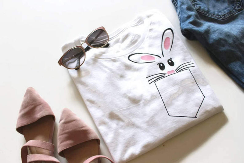 Peeking Bunny Pocket Tee Shirt - Shop Love and Bambii