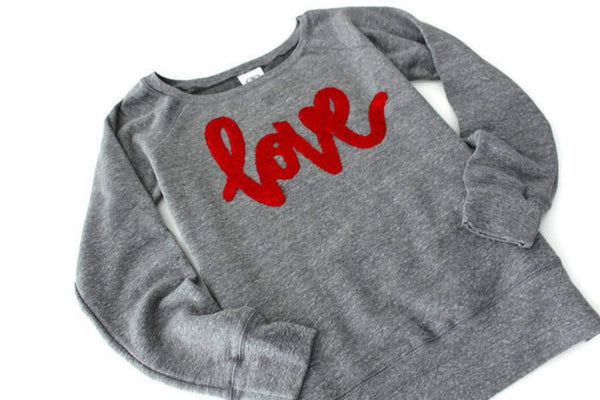 Wide Neck Love Sweatshirt - Shop Love and Bambii