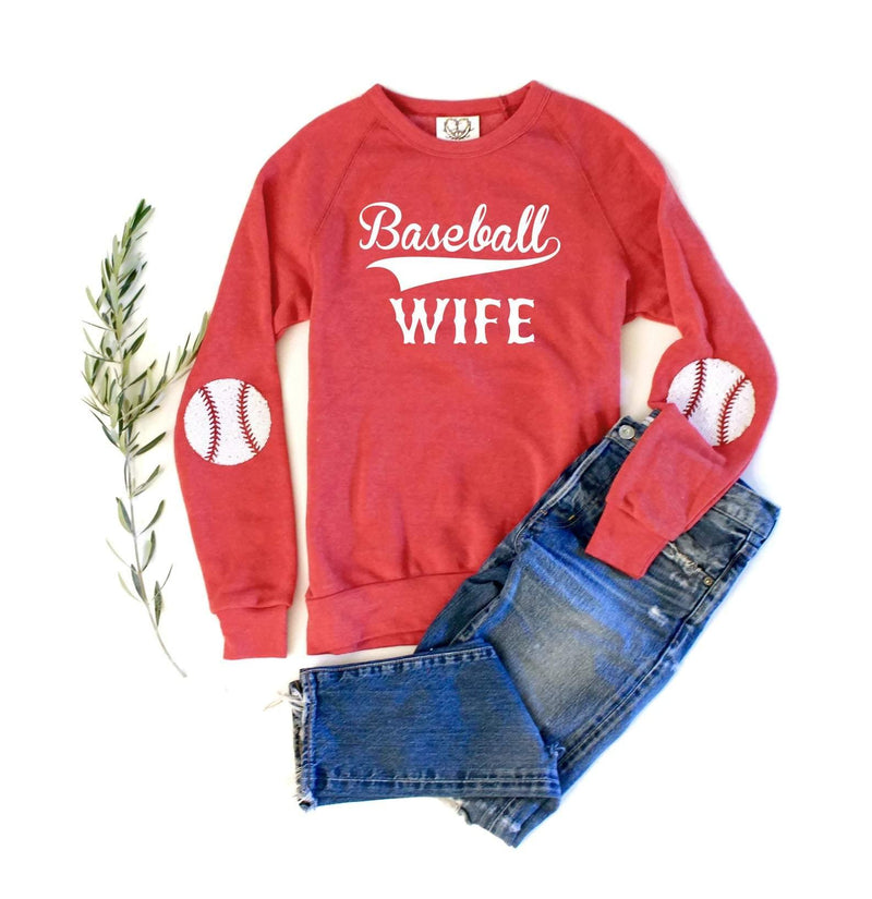 Red Baseball Elbow Patch Sweatshirt - Shop Love and Bambii