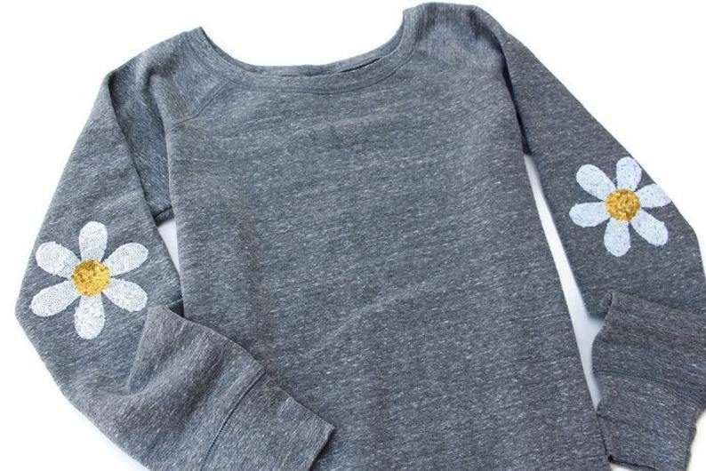 Daisy Elbow Patch Sweatshirt - Shop Love and Bambii
