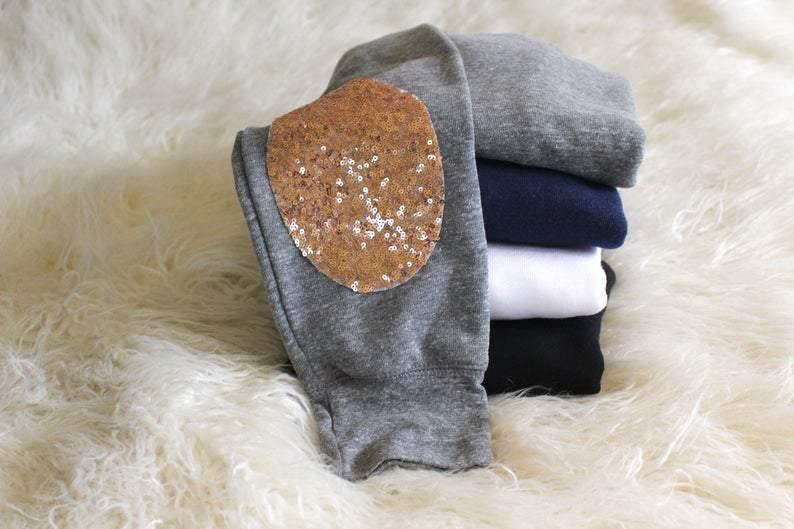 Simple Oval Elbow Patch Sweatshirt - Shop Love and Bambii