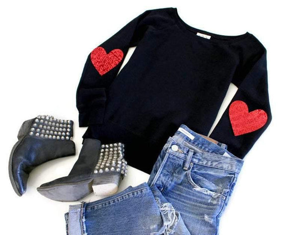 Heart Elbow Patch Sweatshirt - Shop Love and Bambii