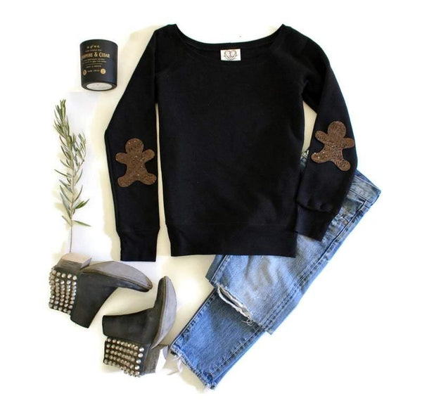 Gingerbread Elbow Patch Sweatshirt - Shop Love and Bambii