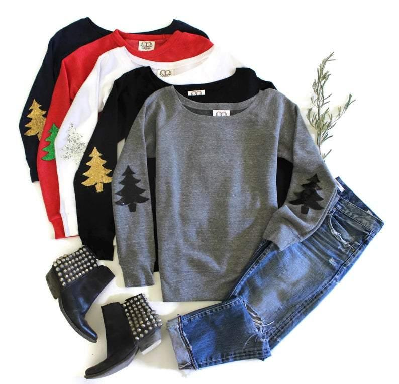 Christmas Tree Elbow Patch Sweatshirt