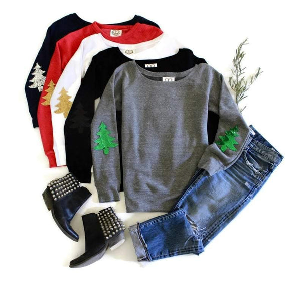 Christmas Tree Elbow Patch Sweatshirt - Shop Love and Bambii