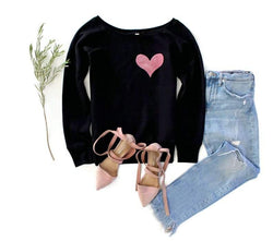 Velvet Pocket Heart Sweatshirt - Shop Love and Bambii