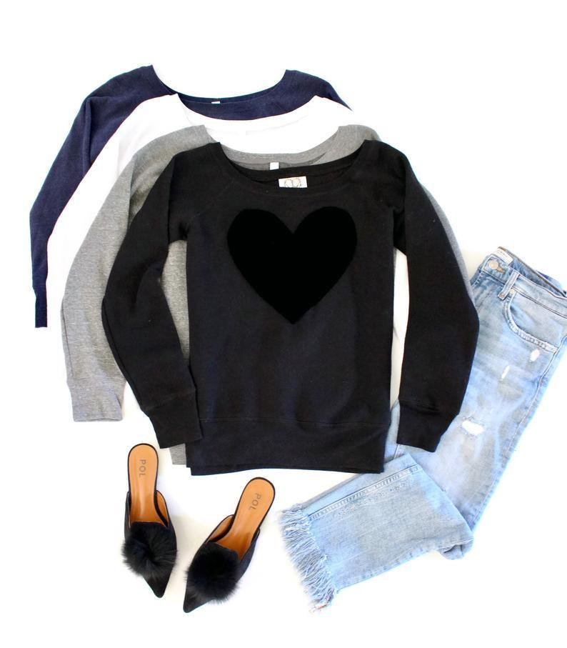 Velvet Heart Sweatshirt - Shop Love and Bambii