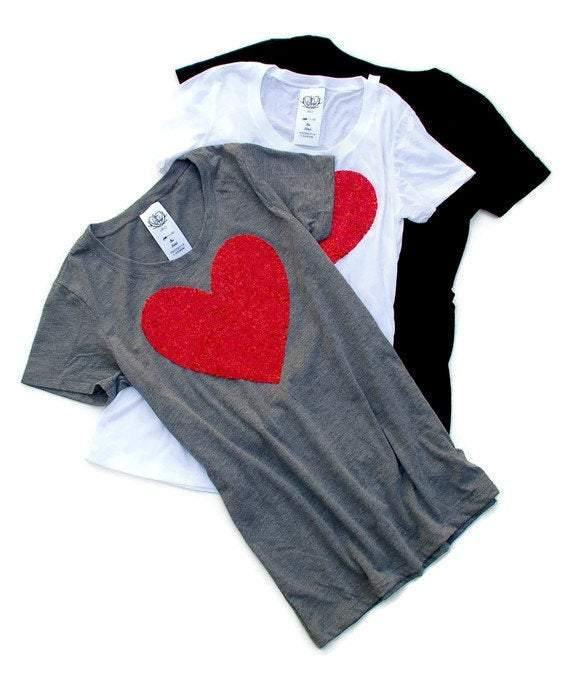 Sequin Heart Tee Shirt - Shop Love and Bambii