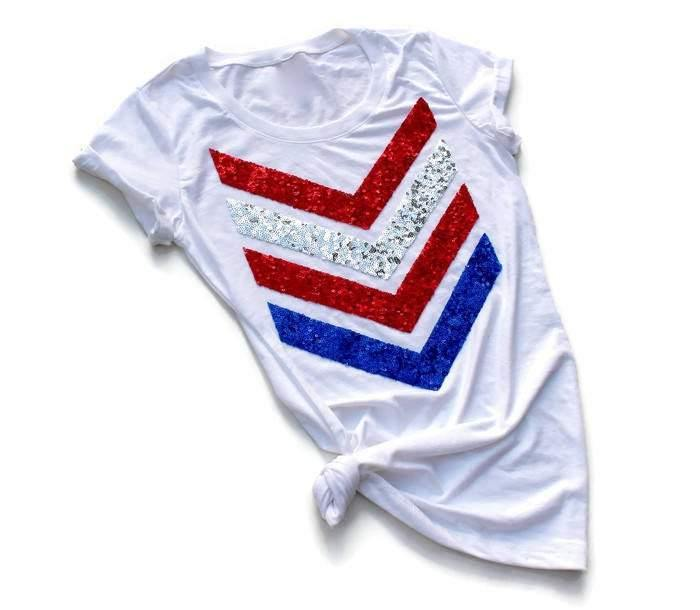 Red White and Blue Chevron Tee Shirt - Shop Love and Bambii