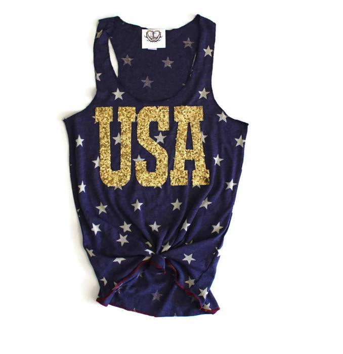 Gold USA Star Tank - Shop Love and Bambii
