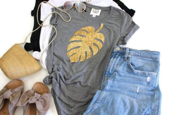 Monstera Leaf Tee Shirt - Shop Love and Bambii