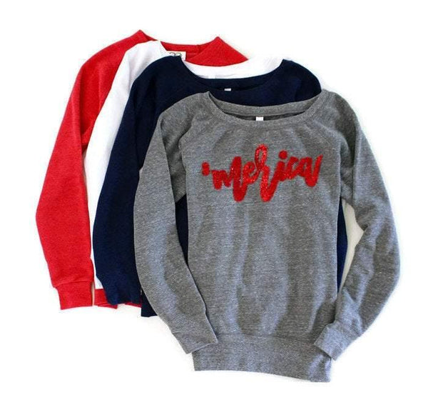 Merica Patriotic Sweatshirt - Shop Love and Bambii