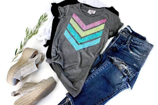 Pastel Chevron Tee Shirt - Shop Love and Bambii