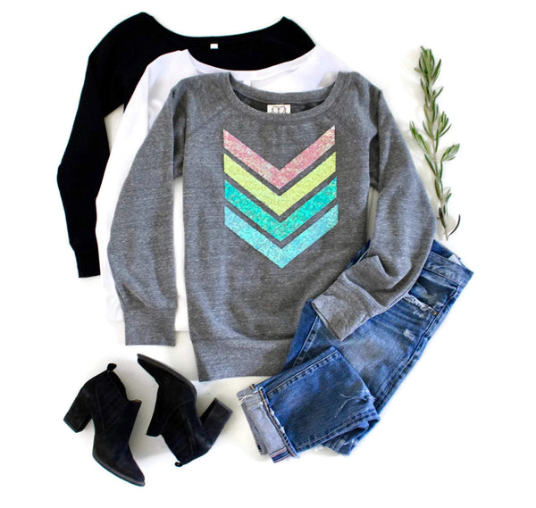 Pastel Chevron Sweatshirt - Shop Love and Bambii