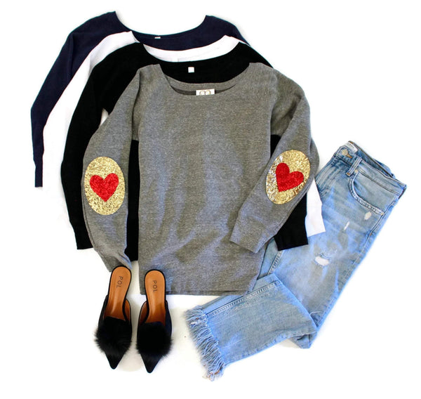 Oval + Heart Elbow Patch Sweatshirt - Shop Love and Bambii