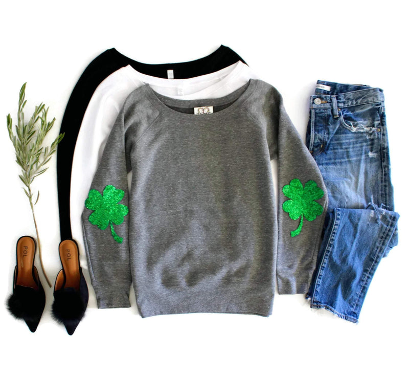 Shamrock Elbow Patch Sweatshirt - Shop Love and Bambii