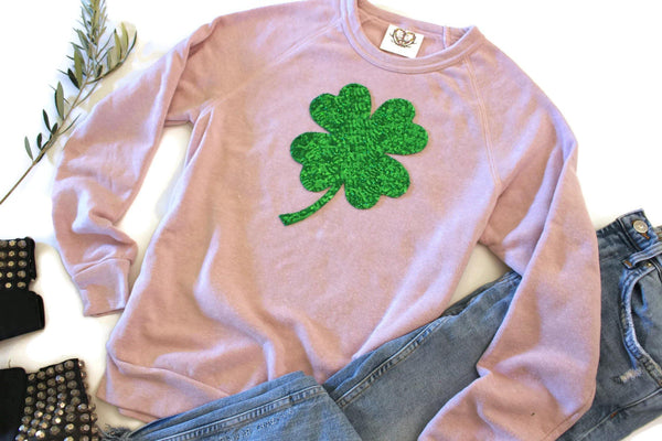 Pretty In Pink Shamrock Sweatshirt - Shop Love and Bambii