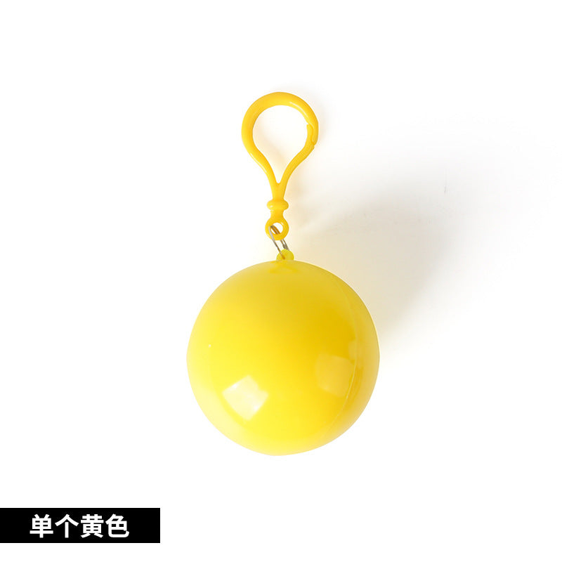 Korea Outdoor Portable Raincoat Ball Disposable Raincoat Camping Fishing Travel Emergency Poncho Keychain Wholesale - Yellow Color
