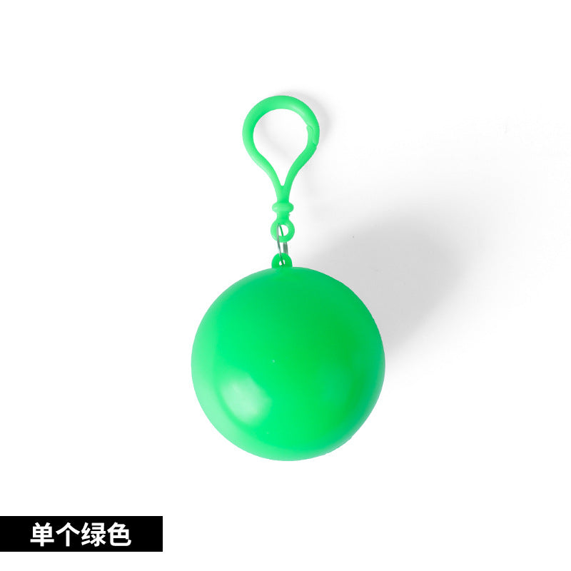 Korea Outdoor Portable Raincoat Ball Disposable Raincoat Camping Fishing Travel Emergency Poncho Keychain Wholesale - White Color