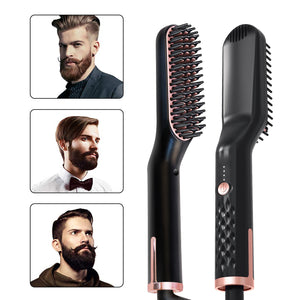 Nuodev Heating Hair Straightener Brush Comb Personal Care Smooth Men's Styling Shape Anti Static Fluffy Straight Beard Comb - Hybridus