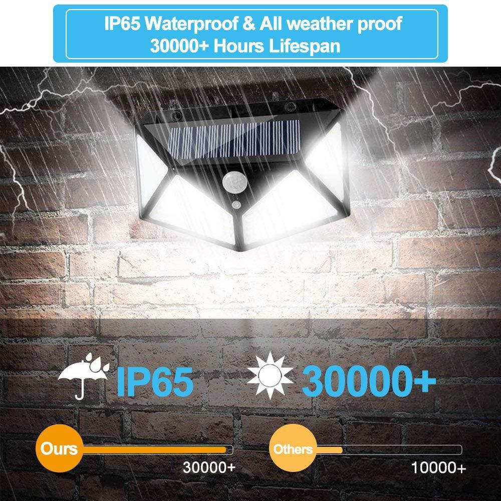 100 LED Outdoor Lighting Solar Wall Light 1/4pcs Waterproof Motion Sensor Automatic Emergency Light Garden Decoration Light - Hybridus