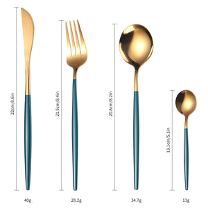 Silverware Set, WISHWAY 24-Piece Stainless Steel Flatware Set With Titanium Silver and Gold Plated, Golden Color Flatware Set, Silverware, Cutlery Set Service For 6