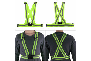 Nuodev Reflective harness Lightweight, Adjustable & Elastic Safety & High Visibility for Running Jogging, Walking, Cycling Fits Over Outdoor Clothing - Motorcycle Jacket Outdoor - Hybridus