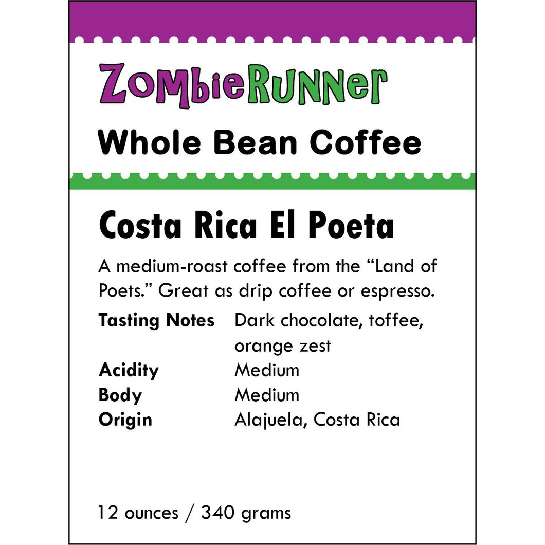 Whole Bean Coffee - Costa Rica El Poeta (12 oz)