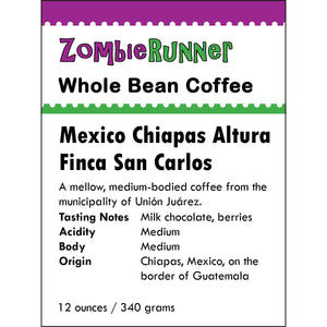 Whole Bean Coffee - Mexico Chiapas Altura Finca San Carlos (12 oz)
