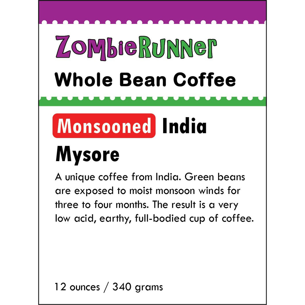 Whole Bean Coffee - Monsooned Indian Mysore (12 oz)