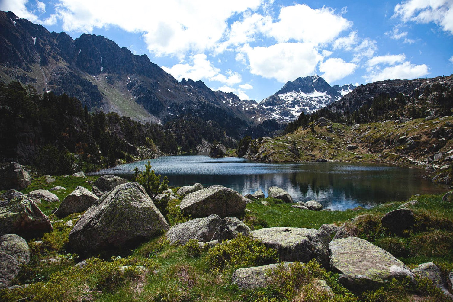 Parc Nacional d'Aigüestortes. From Lac Long. From right to left: Sendrosa ridges, in the middle of the photograph, the Tuc de Ratera. Photography: Júlia Miralles