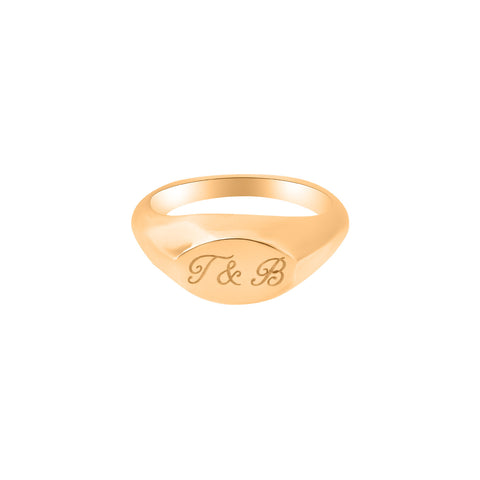 Engraved Ellipse Signet Ring