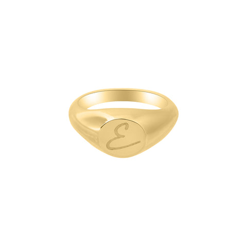 Engraved Round Signet Ring