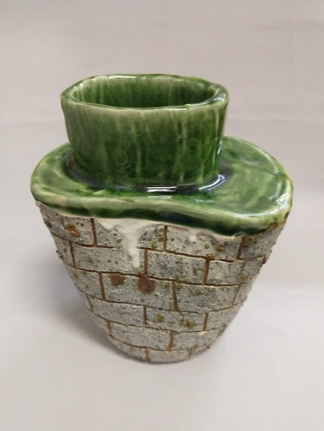 Brick Vase in Green