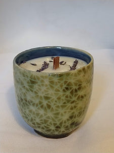 Candle in Albany Green Broken Triangle pattern with Lavender scent and lavender