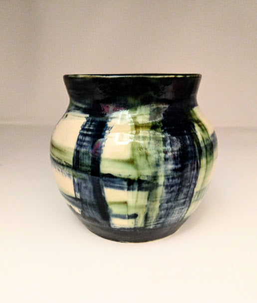 Blue Plaid Vase