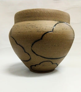 Cloud Vase in Brown Stoneware with Green interior